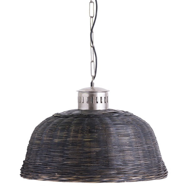 Large Black Wicker Pendant Light