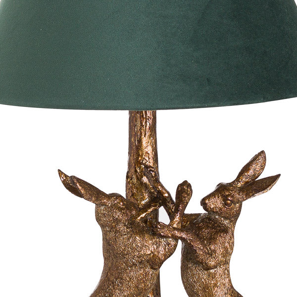 Gold Marching Hares Lamp With Green Velvet Shade