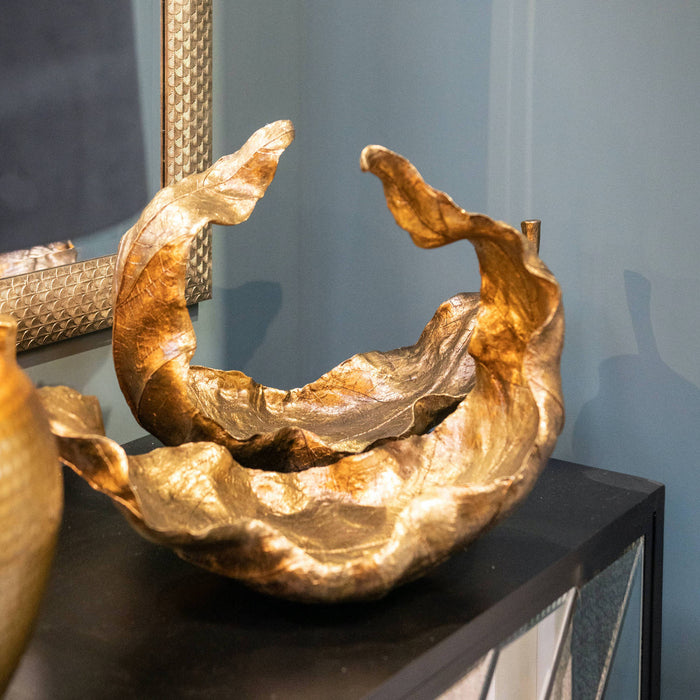 Large Gold Curled Leaf Sculpture
