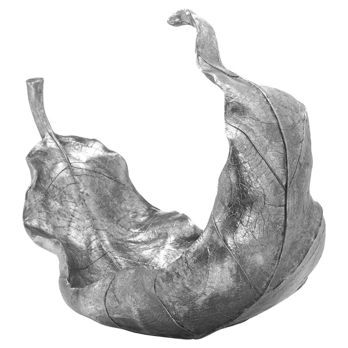 Large Silver Curled Leaf Sculpture