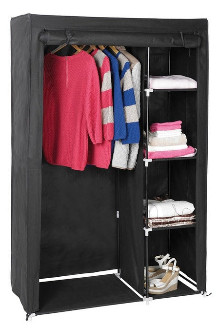 Fabric Wardrobe with Shelving Black - Mayflower Furniture