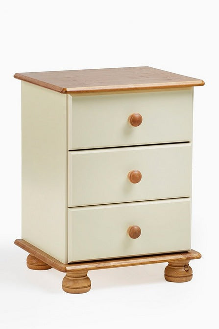 Richmond Three Drawer Bedside Table Cream Pine