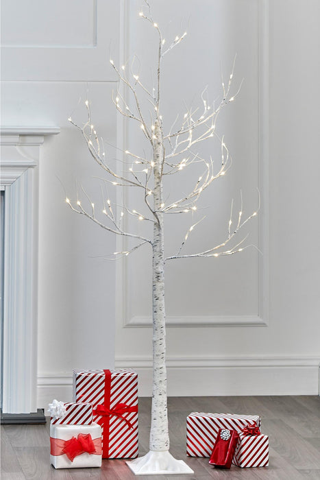 6ft White LED Birch Tree