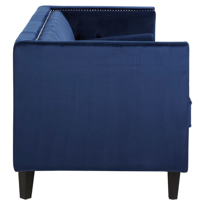 Vina Three Seat Midnight Velvet Sofa