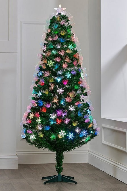 6ft Fibre Optic Burst Christmas Tree with Snowflakes