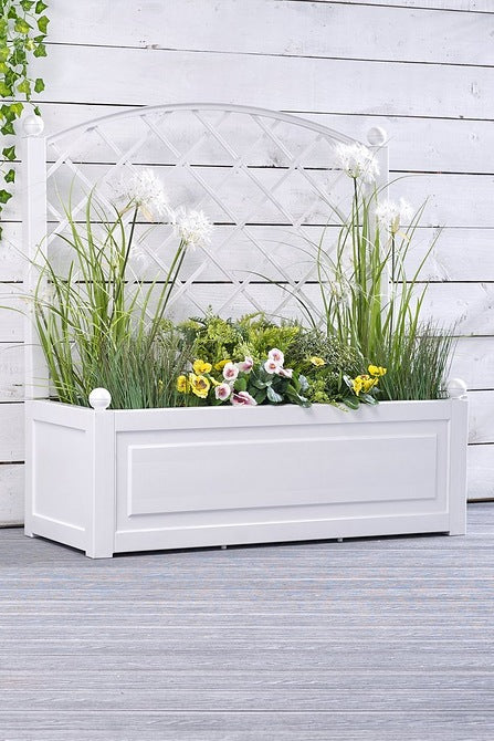 Heritage Trellis Wide Planter White - Mayflower Furniture