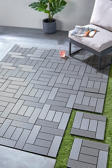 Pack of Four Outdoor Interlocking Deck Tiles Grey - Mayflower Furniture