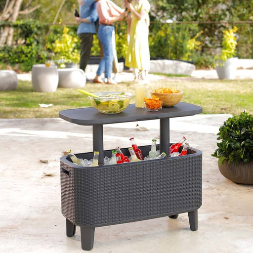 Keter 60 Litre Bevvy Bar Cooler Black Rattan Effect - Mayflower Furniture