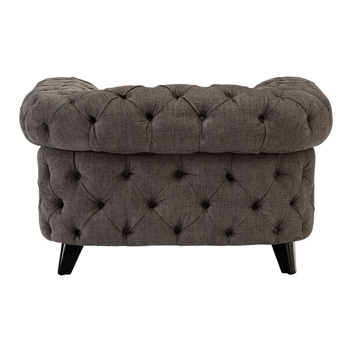 Buttoned Grey Fabric Armchair