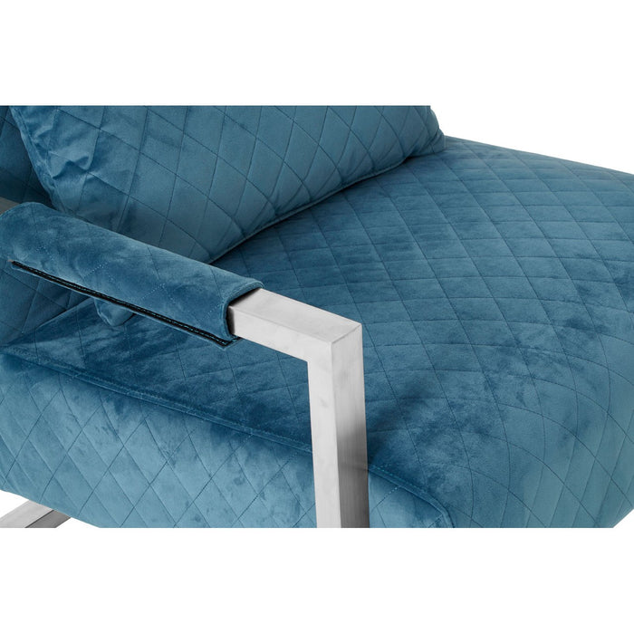 Teal Fabric Armchair With Chrome Frame