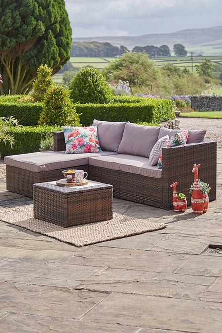 Outdoor Maui Large Corner Rattan-Effect Sofa Brown Natural - Mayflower Furniture