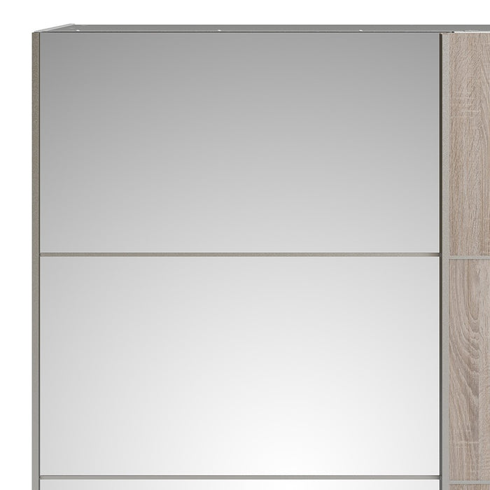 Large White with Light Oak and Mirror Sliding Wardrobe