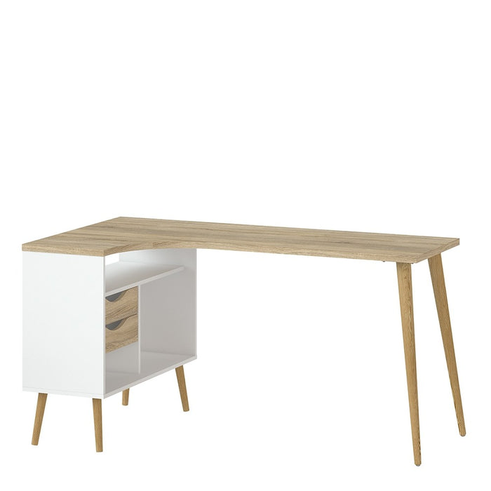 Two Drawer Desk in White and Oak.