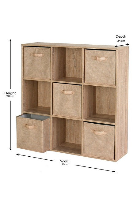 Nine Cube Oak-Effect Storage Unit with Canvas Drawers