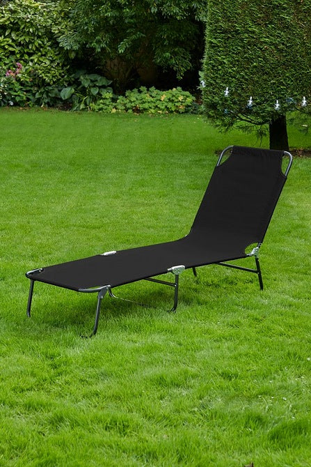 Folding Polyester Lounger Black - Mayflower Furniture