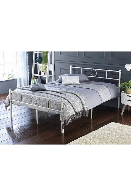 Sol Metal Bed Double White - Mayflower Furniture