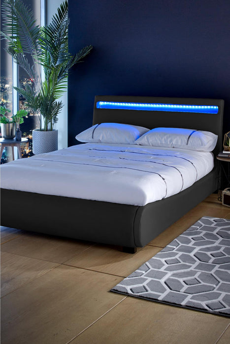 Atlanta Double Bed with LED Headboard Black - Mayflower Furniture