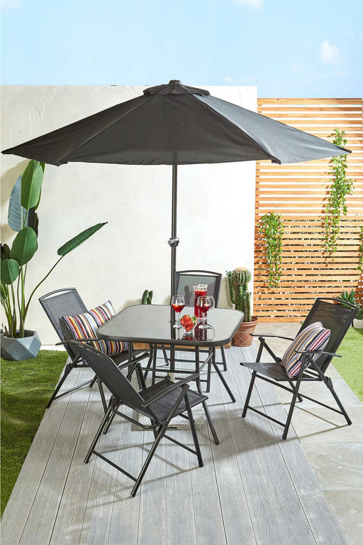 Roma Six Piece Outdoor Patio Set Black - Mayflower Furniture