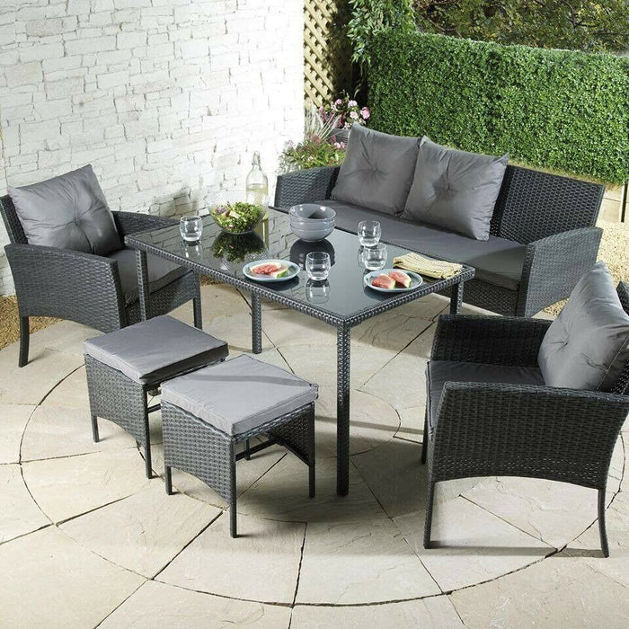 Outdoor Seven Seat Lounge Rattan Effect Dining Set Grey - Mayflower Furniture