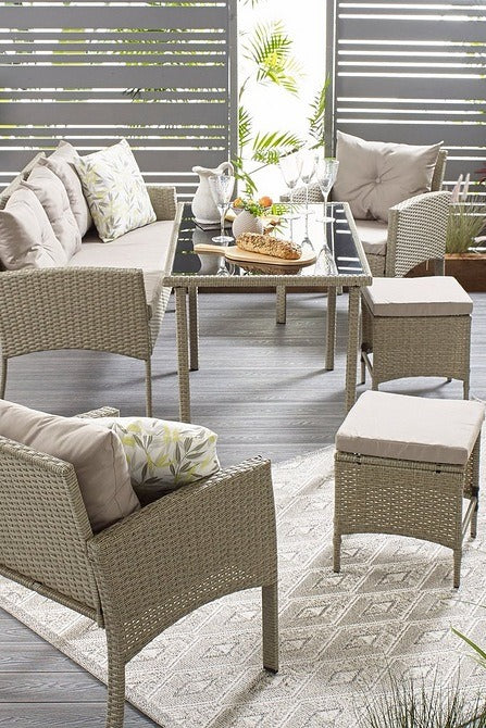 Outdoor Seven Seat Lounge Rattan Effect Dining Set Natural - Mayflower Furniture