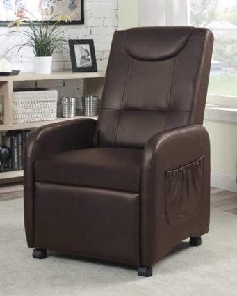 Folding Recliner Chair - Faux Leather Brown - Mayflower Furniture