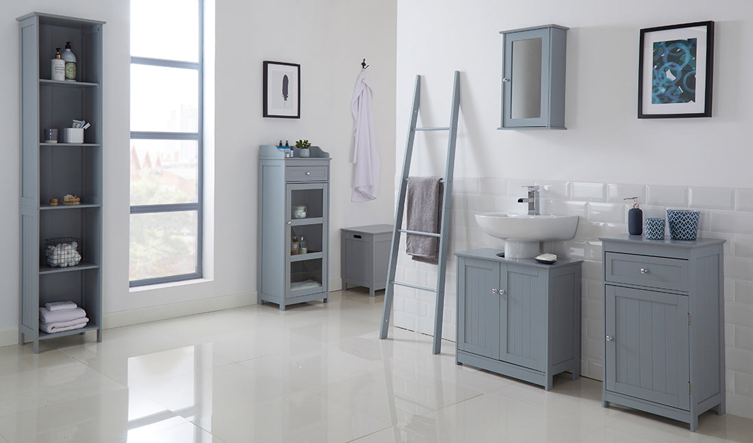 WALL CABINET WITH MIRROR GREY