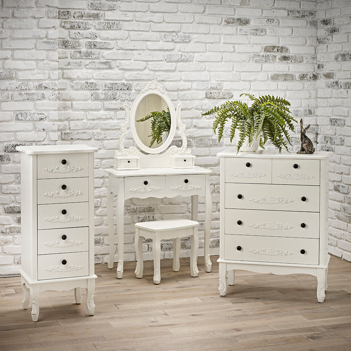 Antoinette Five Large Drawer Chest White Or Black - Mayflower Furniture
