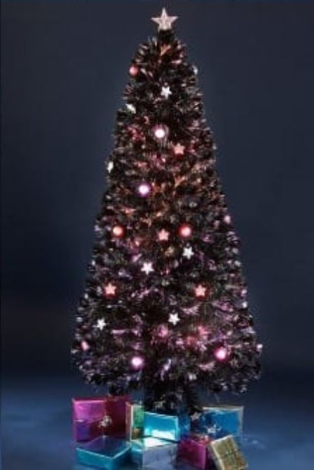 6ft Fibre Optic Star and Bauble Tree Black