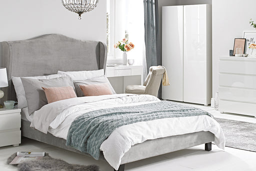 Chateaux Velvet Wing Double Bed - Three Colours - Mayflower Furniture