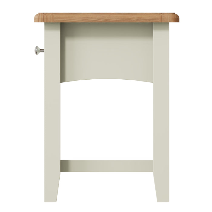 York White One Drawer Lamp Table