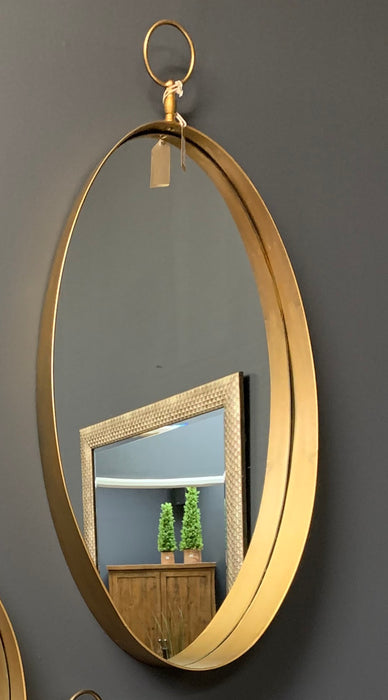 Antique Gold Oval Mirror With Decorative Loop - Mayflower Furniture