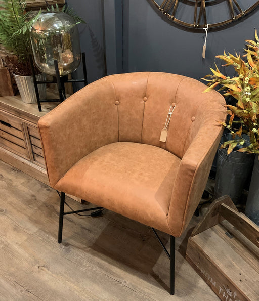 Tan Faux Leather Urban Tub Chair - Mayflower Furniture