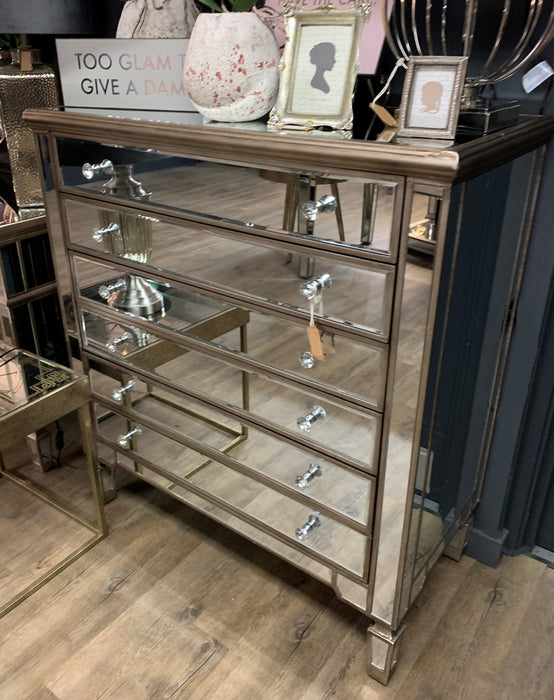 The Belfry Collection Six Drawer Mirrored Chest - Mayflower Furniture