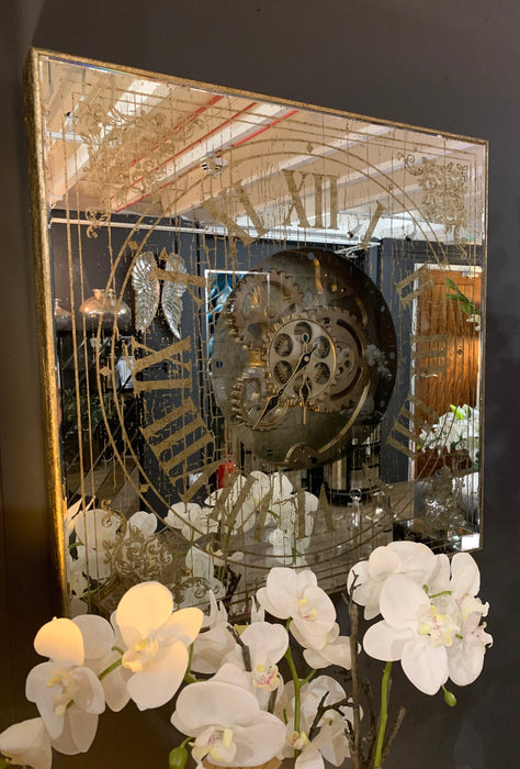 Mirrored Square Clock With Moving Mechanism - Mayflower Furniture