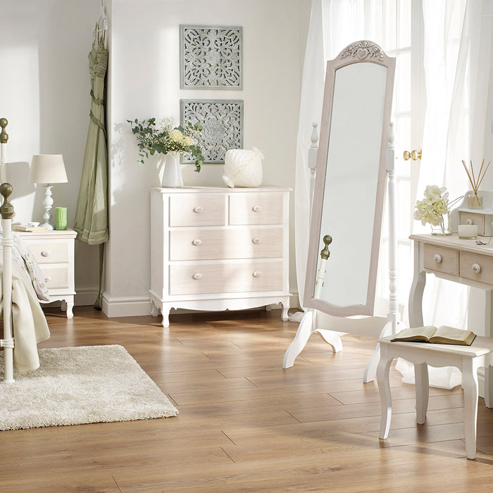 Juliette Two Drawer Side Table Cream - Mayflower Furniture