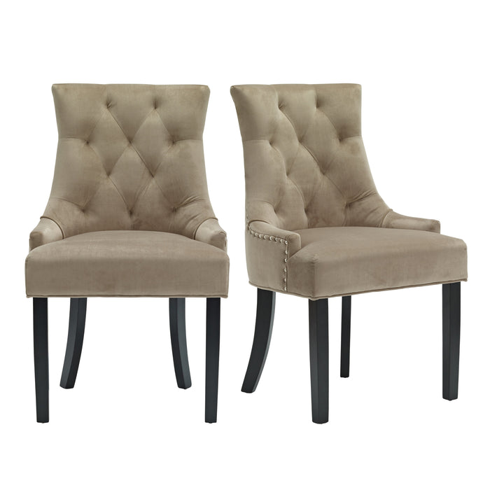 Morgan Pair Of Velvet Dining Chairs With A Knocker - Three Colours - Mayflower Furniture