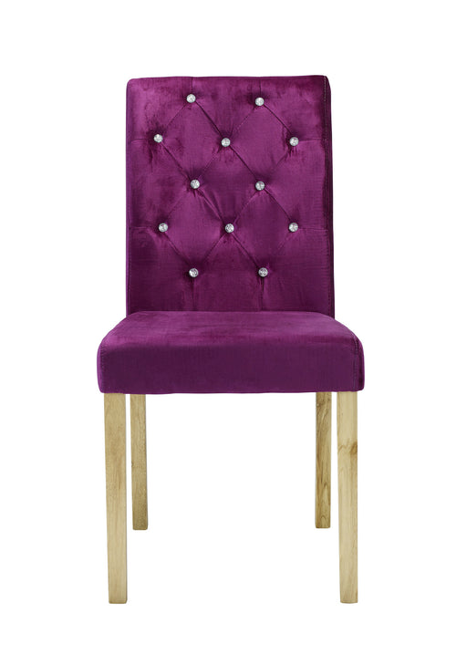 Paris Pair Of Diamante Velvet Dining Chairs Purple - Mayflower Furniture