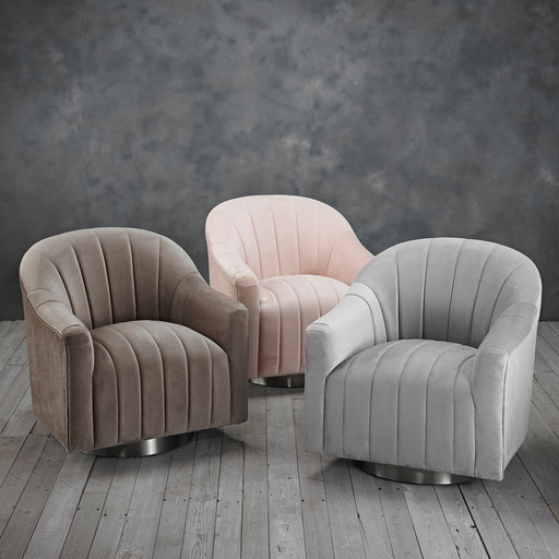 Tiffany Swivel Chair Velvet Fabric - Three Colours - Mayflower Furniture