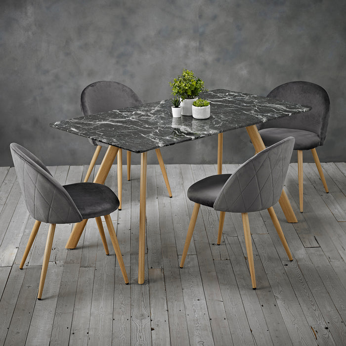 Venice Black Marble Effect Dining Set - Four Colours - Mayflower Furniture