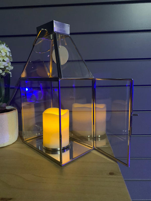 Large Silver Rectangle Candle Holder Lantern