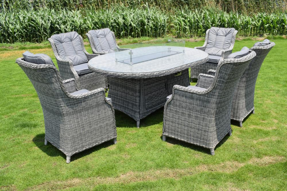 Pendleton Six Seater Oval Fire Pit Dining Set - Dark Grey