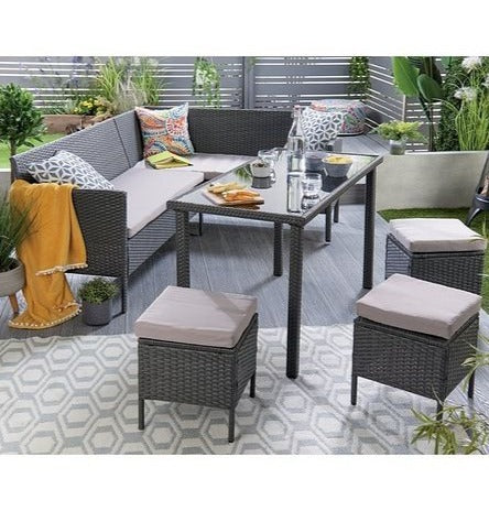 Outdoor Marrakech Corner Rattan Lounge Set Black - Mayflower Furniture