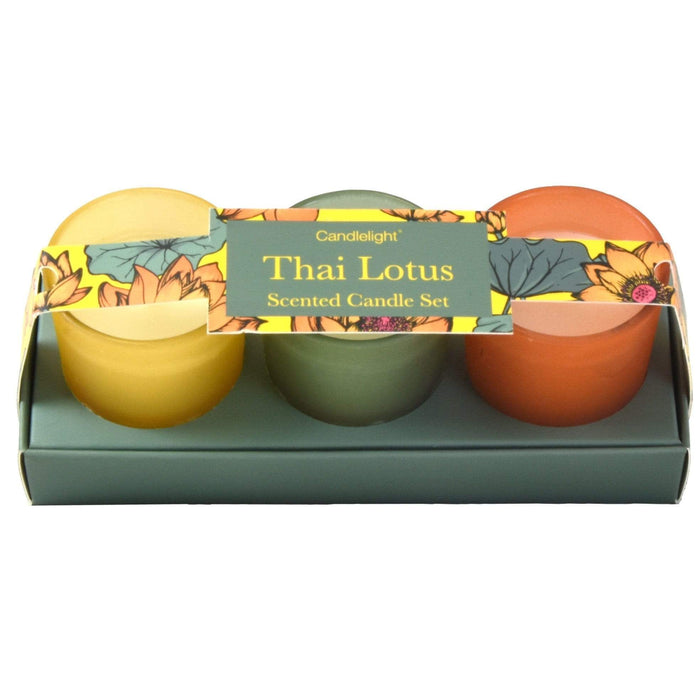 Thai Lotus Set of 3 Mini Votives Candles in Gift Box Thai Flower Market Scent