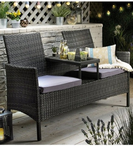 Rattan Tete-A-Tete Love Seat Black / Grey - Mayflower Furniture