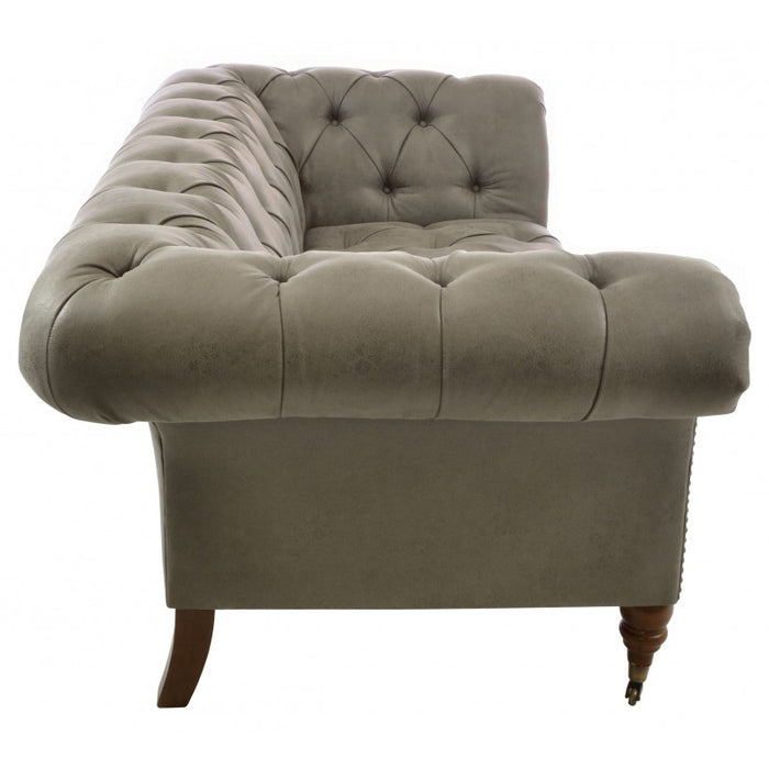 Ellie Chesterfield 1.5 Seat Grey Faux Leather - Mayflower Furniture