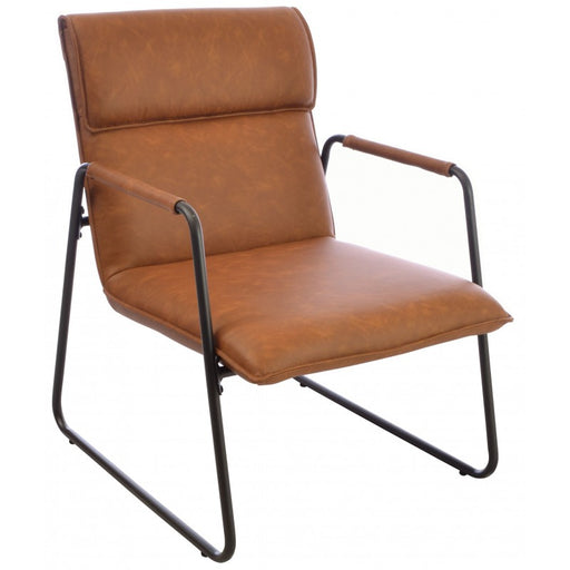 Fitzroy Brown Faux Leather and Metal Armchair - Mayflower Furniture
