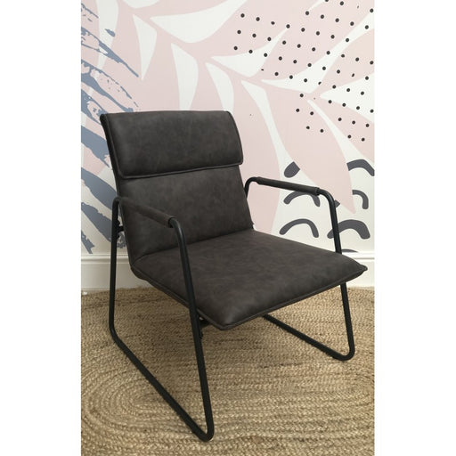 Fitzroy Grey Faux Leather and Metal Armchair - Mayflower Furniture