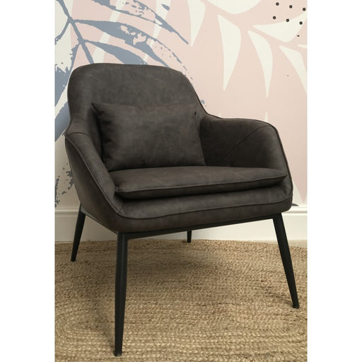 Fitzroy Grey Faux Leather Low Chair - Mayflower Furniture