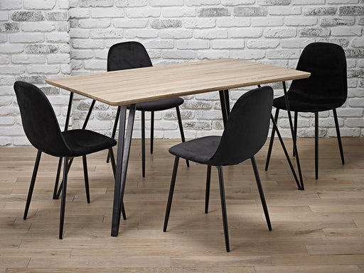 Malmo Dining Set 5 Piece Oak Black - Mayflower Furniture
