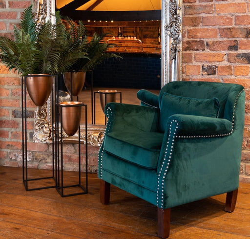 Emerald Velvet Low Backed Studded Armchair - Mayflower Furniture